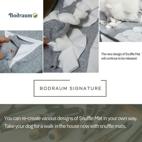 The Bodraum DIY Snuffle Mat for dogs series is a new type of pet mat that combines various designs with each other to make your own mat. Give your pet a new present. Snuffle mats are good to play like dog toys, and hiding dog food helps nose walks. Snuffle mats, which are good for relieving stress, are good for playing while dog training like dog puzzle toys and interactive dog toys.
