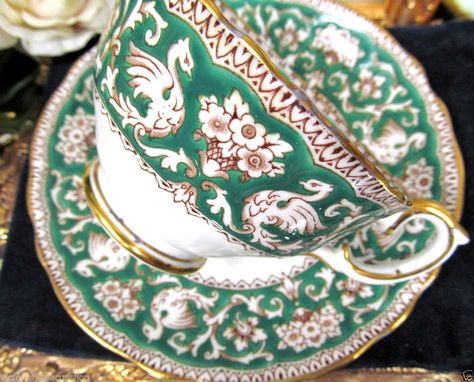 CROWN STAFFORDSHIRE TEA CUP AND SAUCER ELLESMERE GREEN PATTERN TEACUP