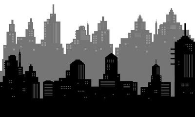 City Silhouette Background In Black And White Ad Silhouette City Background White Black Ad City Silhouette Black And White Silhouette Vector