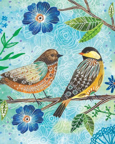 Items similar to Floral Flight-Birds on Blue art by Lori Siebert on Etsy