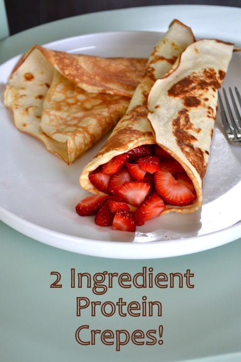 Only egg whites and protein powder make these perfe… 2 Ingredient Protein Crepes! Only egg whites and protein powder make these perfectly sweet and satisfying crepes! Healthy Protein Snacks, High Protein Recipes, Low Carb Recipes, Cooking Recipes, Healthy Recipes, High Protein Desserts, High Protein Foods, Protein Ball, Vegan Recipes