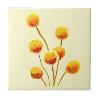 Yellow Billy Button Native Australian Flower Ceramic Tile Zazzle Com In 2020 Australian Flowers Yellow Flower Art Billy Buttons