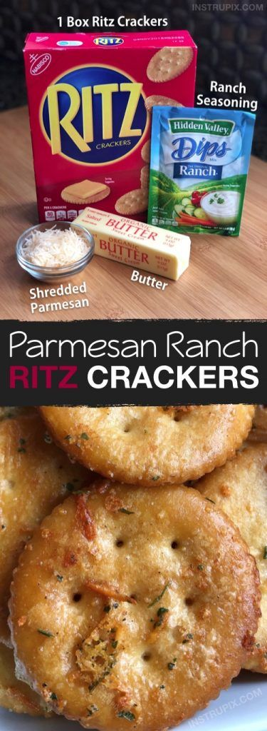 Zesty Baked Ritz Crackers -- SO GOOD! (made with butter, ranch seasoning mix and parmesan). These are a family favorite snack idea, the kids love them. They are also great for parties. Perfect served with cheese or deli meat. Snack Mix Recipes, Appetizer Recipes, Cooking Recipes, Appetizer Ideas, Cake Recipes, Dinner Recipes, Ritz Crackers, Seasoned Crackers, Butter Crackers