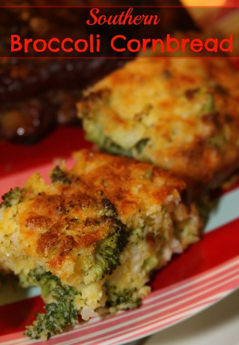 Southern Broccoli Cornbread- the best cornbread around with a secret ingredient to make it extra moist and fluffy!