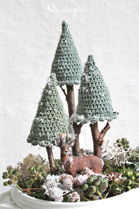 seidenfeins Blog vom schönen Landleben: 1* Häkeltannen für ein Winterwunderland * Crocheted firs for your winter wonderland