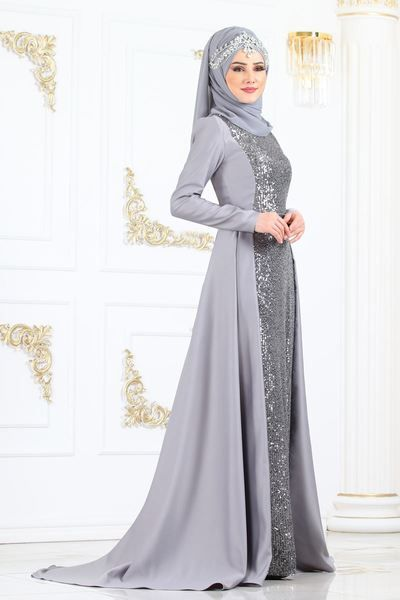Modaselvim Abiye Pul Payetli Kuyruklu Abiye Ygs6194 Gumus Muslimah Fashion Outfits Muslim Fashion Dress Fashion