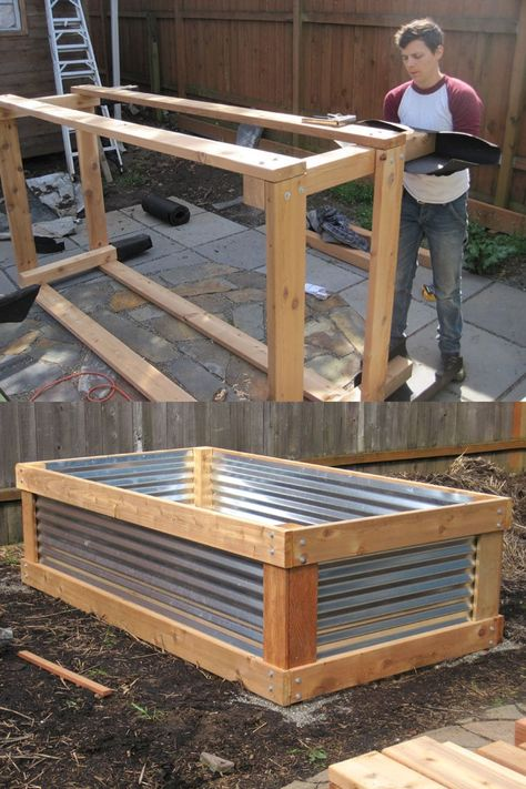 28 Best DIY raised bed gardens: easy tutorials, ideas & designs to build raised beds or vegetable & flower garden box planters with inexpensive materials! - A Piece of Rainbow backyard, landscaping, gardening tips, gardening ideas design Cheap Raised Garden Beds, Raised Vegetable Gardens, Vegetable Garden Design, Vegetable Gardening, Raised Bed Gardens, Raised Bed Garden Layout, Raised Bed Planting, Raised Bed Diy, Raised Garden Bed Plans