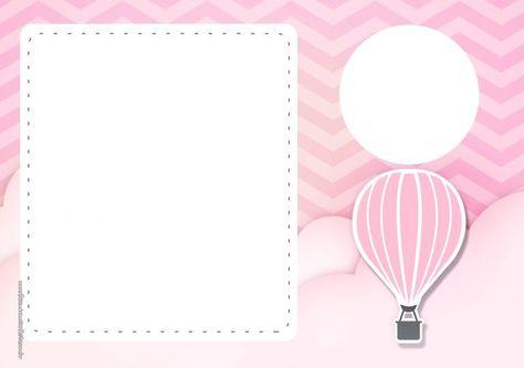 Convite Balão de Ar Quente Rosa 4
