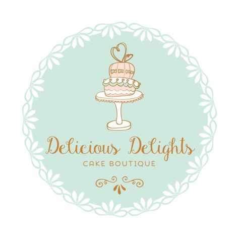 Cake Premade Logo Design Customized With Your Business Name