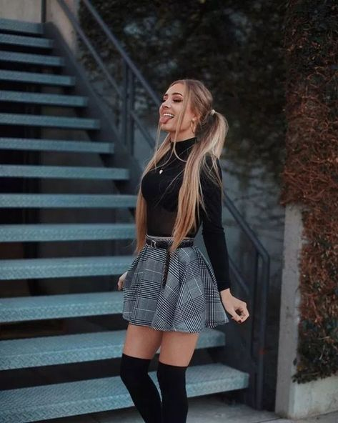 Fall outfit ideasThe Cherie Green Plaid Mini Skirt