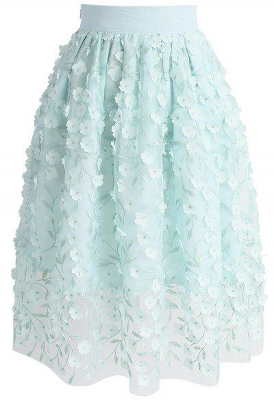Spirit of Spring Floral Mesh Skirt in Mint