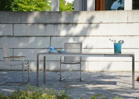 Table de jardin extensible en acier et ceramique noir blanc ...
