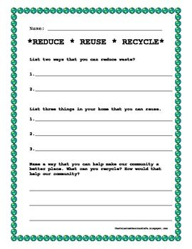 Reduce, Reuse, Recycle! - Earth Day Activity | Worksheets ...