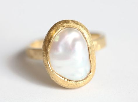 Unique Engagement Ring, One Of a Kind Engagement Ring, Freshwater Pearl Ring, Keshi Pearl Ring, Beze