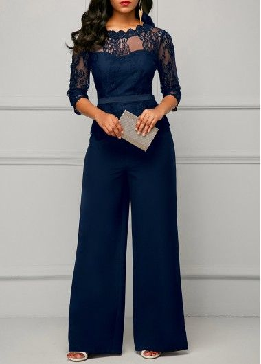 Lace Jumpsuits for women 2018 Autumn Sexy High Waist Palazzo Sleeve One Piece Peplum Rompers with Long Wide Leg Pant
