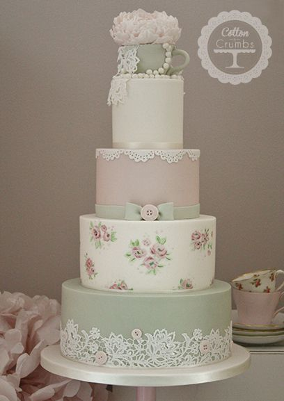 Cotton & Crumbs. Ivory pink sage green tea cup peony pearls lace buttons bow hand painted roses.