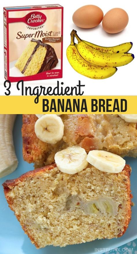 Easy Super Moist Banana Bread Recipe (just 3 ingredients!) This quick and easy 3 ingredient banana bread recipe is super moist and delicious! Add chocolate chips to make it even better. All you will need is a box of cake mix, ripe bananas and a few eggs. 3 Ingredient Banana Bread Recipe, 3 Ingredient Recipes, Banana Bread Recipes, Cake Mix Banana Bread, Banana Bars, Banana Cupcakes, Banana Bread Recipe Made With Cake Mix, 3 Ingredient Cookies, Best Banana Cake Recipe Moist