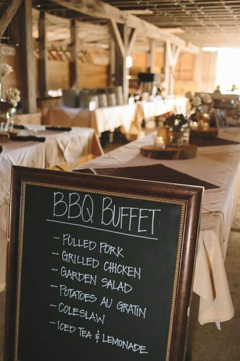 Barbecue Buffet Reception Dinner with Chalkboard Menu                                                                                                                                                      More