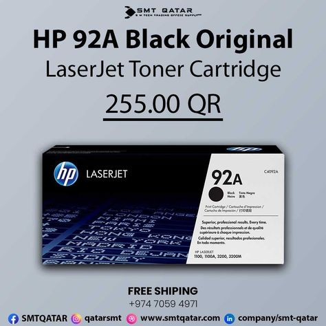 HP 92A Black Original LaserJet Toner Cartridge with free shipping all over Qatar.