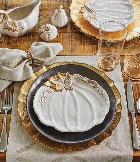 Southern Living Astra Collection Glazed Bronze Dinner Plates, Set of 2 Fall Table Settings, Thanksgiving Table Settings, Thanksgiving Tablescapes, Elegant Table Settings, Thanksgiving Decorations, Place Settings, Fall Dining Table, A Table, Dining Room