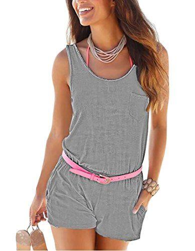 Hokny TD Women Summer Sleeveless V Neck Shorts Elastic Waist Jumpsuit Rompers