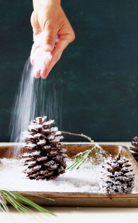 3 minute gorgeous DIY snow covered pine cones & branches in 3 ways! Easy pinecone craft for winter weddings, farmhouse, Thanksgiving, Christmas decorations! - A Piece of Rainbow gorgeous DIY snow covered pine cones & branches in 3 way Christmas Pine Cones, Rustic Christmas, Christmas Wreaths, Christmas Decorations Pinecones, Pinecone Ornaments, Winter Christmas, Pinecone Wedding Decorations, Pinecone Christmas Crafts, Pinecone Centerpiece