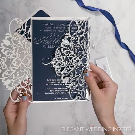 Glitter Silver Wedding Invitations