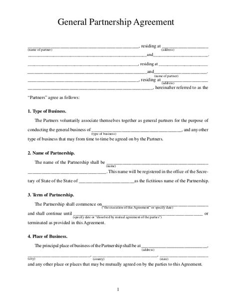 Printable Sample Partnership Agreement Sample Form Real Estate - vacation rental agreement