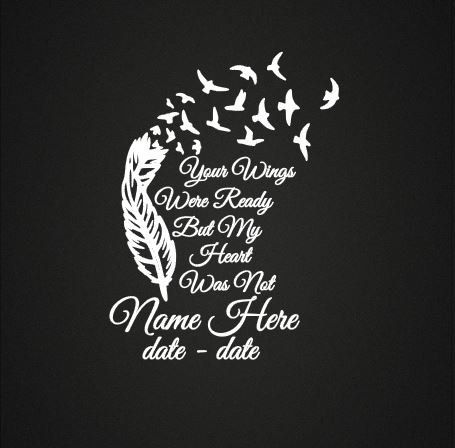 Feather In Loving Memory Vinyl Decal In Loving by GraceCreationz