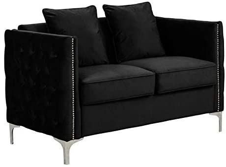 Lilola Home Bayberry Black Velvet Fabric Loveseat Couch With 2 Pillows Love Seat Couch And Loveseat Velvet Loveseat