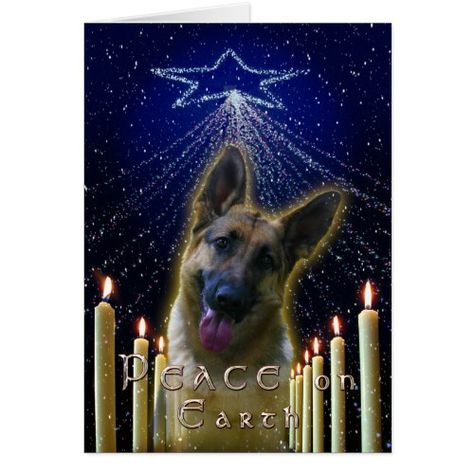 Box of 16 Cards /& 16 Envelopes German Shepherd Dog Black Christmas Cards