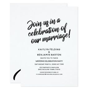 Celebrate Our Marriage Script Wedding Reception Invitation Zazzle Com Wedding Reception Invitations Reception Invitations Wedding Celebrations Party