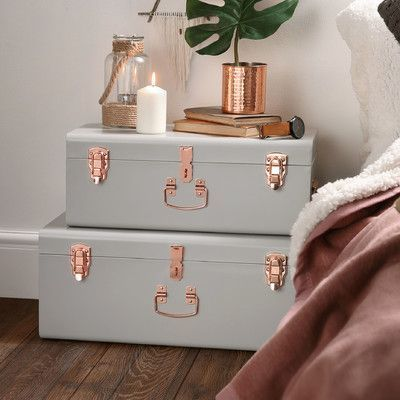 Beautify 2 Piece Storage Trunk Set Finish: Gray | teen home ...