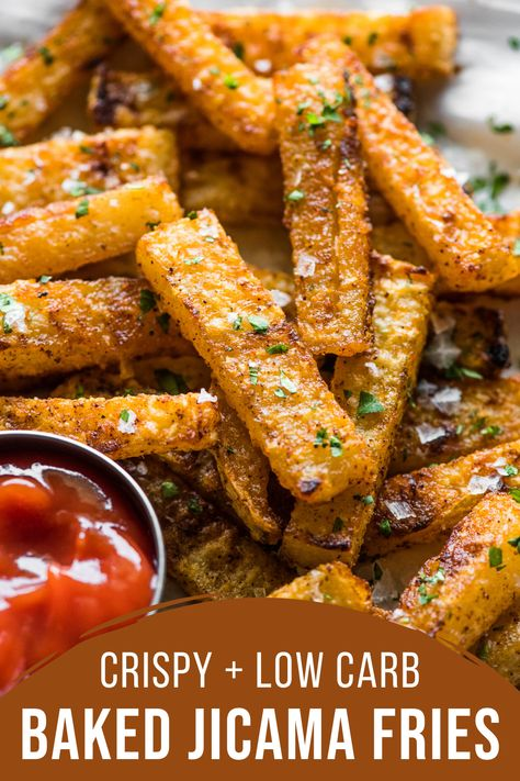 These crispy and deliciously seasoned jicama fries are baked in the oven to golden brown perfection! Made with only 5 simple ingredients these jicama fries are gluten free low carb keto paleo and vegan! Healthy Chicken Recipes, Veggie Recipes, Mexican Food Recipes, Low Carb Recipes, Vegetarian Recipes, Flour Recipes, Side Dish Recipes, Dinner Recipes, Dinner Ideas