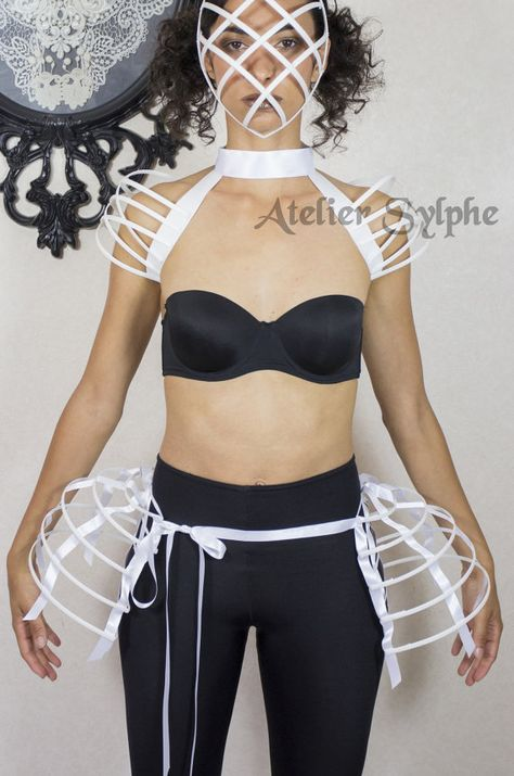 Two pieces worn together double pannier white ribbon and lacing Crinoline cage hoop bustle