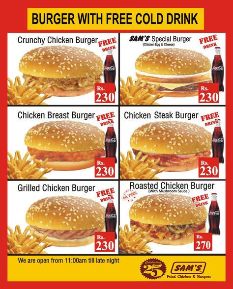 #Samsfsd #BURGER WITH FREE COLD DRINK DEAL
