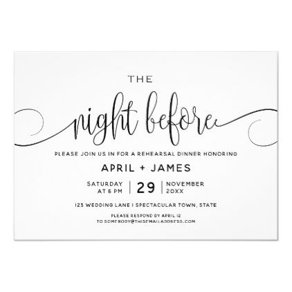 The Night Before Rehearsal Dinner Invitation | Zazzle.com (With ...