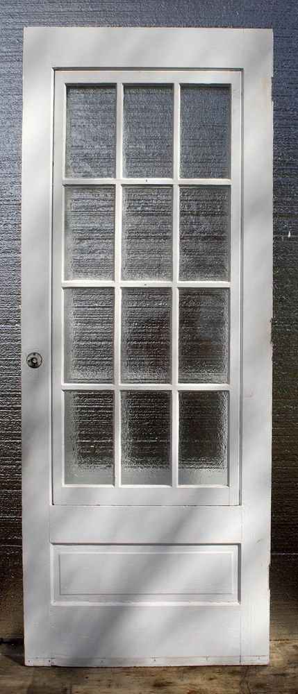 31 X79 5 Antique Vintage Wood Wooden Storm Screen Exterior Door 12 Window Glass Stained Glass Windows Windows Stained Glass