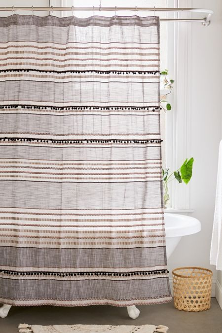 Macrame Shower Curtain In 2020 Farmhouse Shower Curtain