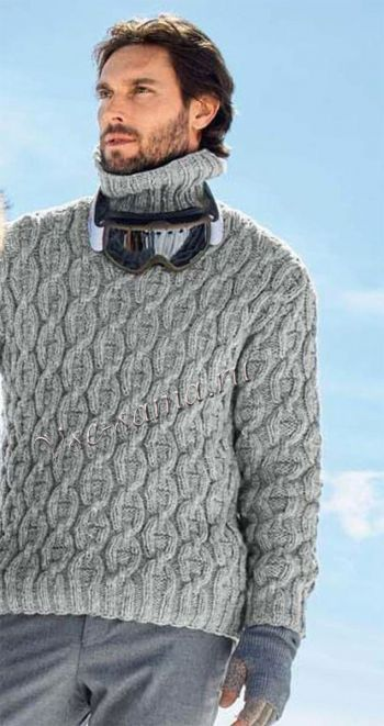 cbee35655f0b Мужской пуловер с воротником гольф, фото   Вязание спицами ...
