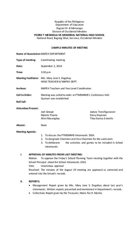 Republic of the Philippines Department of Education Region IVu2013 B - format of meeting agenda