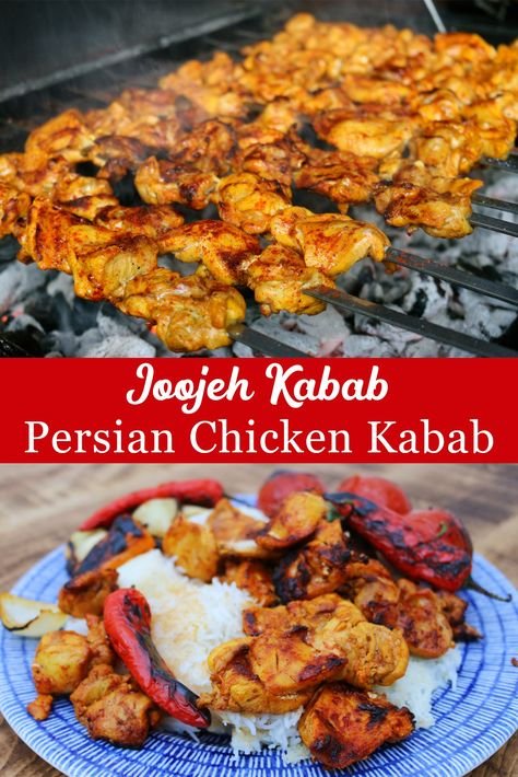 Persian Chicken Kabab - Joojeh Kabab Joojeh Kabab is my go-to kabab recipe when we invite friends for a BBQ. The secret to perfect Persian Chicken Kabab is of course in the marinade. Persian Chicken Kabob Recipe, Turkish Chicken, Middle Eastern Chicken Kebab Recipe, Lebanese Chicken, Tandoori Chicken, Indian Dessert Recipes, Ethnic Recipes, Cooking Recipes, Healthy Recipes
