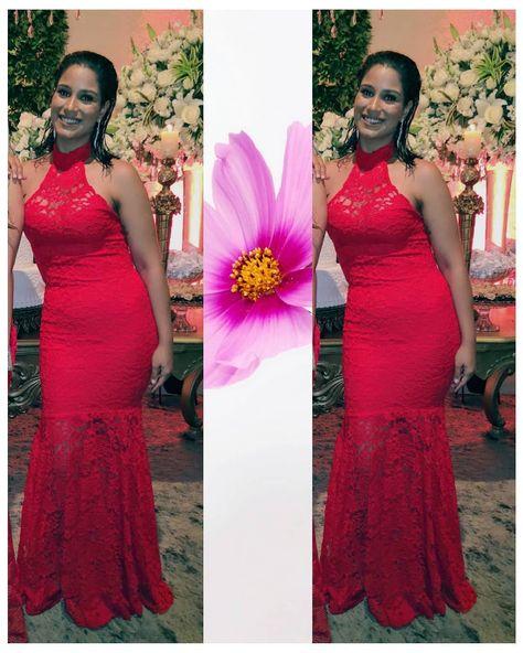 71f35b2ef Vestido de festa sereia de renda vermelho 💗 vestido de formatura vermelho,  vestido de formanda