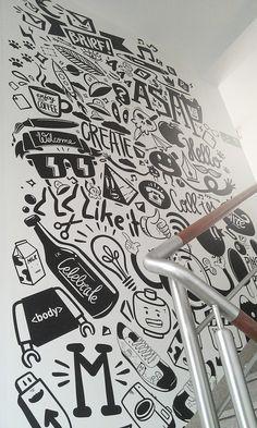 Agency life by piotr jakubowski, via behance office wall design, office mural, office