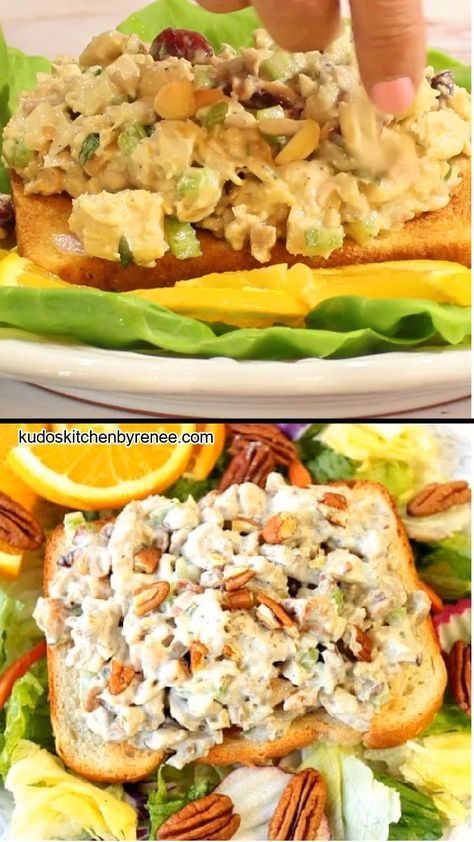 Orange Cashew Chicken Salad uses rotisserie chicken, roasted cashews, and pecans, along with a touch of orange zest and juice. It's simply the best chicken salad, ever! #chickensalad #bestchickensalad #sweetsavorychickensalad #citruschickensalad #orange #nuts #cashews #pecans #easyrecipe #rotisseriechickenrecipe #tarragon #driedcranberries #10minuterecipe #kudoskitchenrecipes