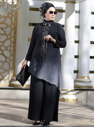 Degrade Tunik Pantolon Ikili Abiye Takim Gri Nesrin Emniyetli Moda Stilleri Musluman Modasi Mutevazi Kiyafetler