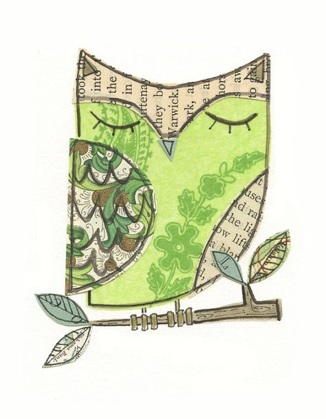 Items similar to Flora - collage owl - LIL ART CARD matted giclee print, owl, collage, Susan Black on Etsy
