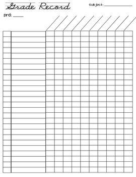 FREE grade record sheet (26 students) | Language Arts | Teacher ...