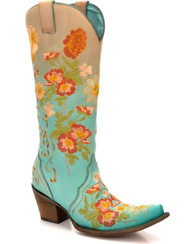 df1003411ea Corral Women's Turquoise Orange Floral Embroidered Boots - Snip Toe ...