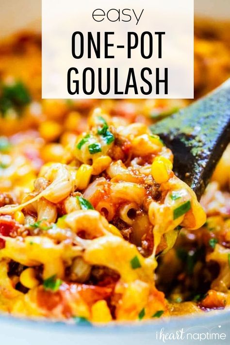 This easy homemade goulash is made in one pot (including the noodles) in just 30 minutes. It's a classic, family-favorite dish packed with tons of flavor! #goulash #onepot #onepotmeal #onepotdinner #dinner #dinnerrecipes #easydinner #easyrecipe #hamburger #macaroni #cheese #recipes #iheartnaptime